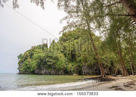 Beach And Cliffs Of  Yong Ling Beach, Thailand.