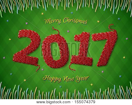 New Year 2017 in shape of knitted fabric on checkered background. Christmas wishes surrounded by colored threads. Vector image for new years day christmas winter holiday new years eve silvester