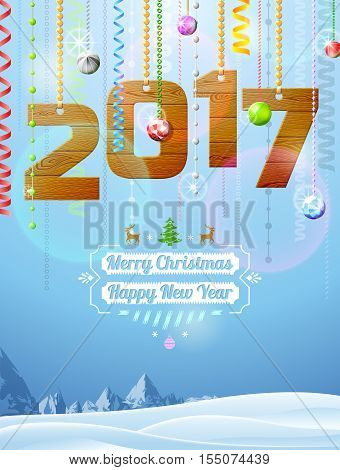 New Year 2017 of wood like christmas decoration. Winter landscape with christmas congratulation. Vector illustration for new years day christmas winter holiday new years eve silvester etc