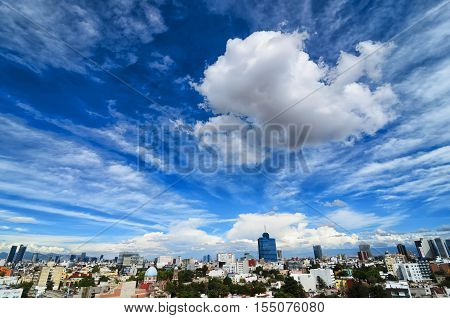 MEXICO CITY MEXICO 24 OCTOBER 2016: View to Mexico city under stunning cloudy sky