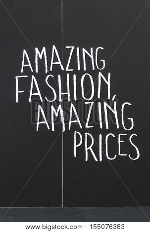 Amazing fashion amazing prices sign in black & whit.