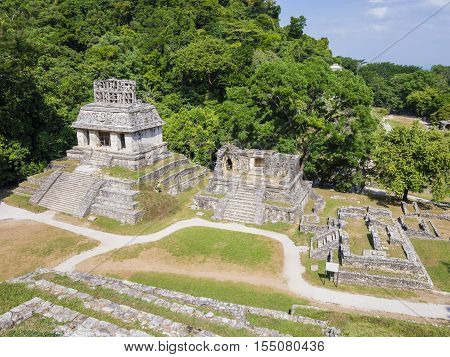 Scenic view of Mayan ruins in Palenque, Chiapas, Mexico