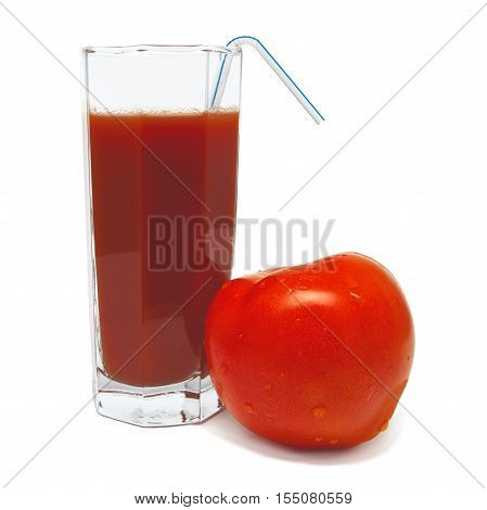 Glass of tomato juice with tomato and tubule isolated on white background