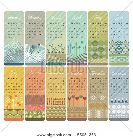 2017 Decorative calendar set with vertical banners or cards. Week starts on Sunday.
