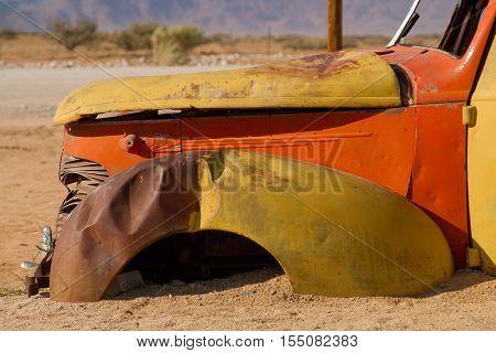 Abandoned cars preserved in the namibian desert near Ais-Ais