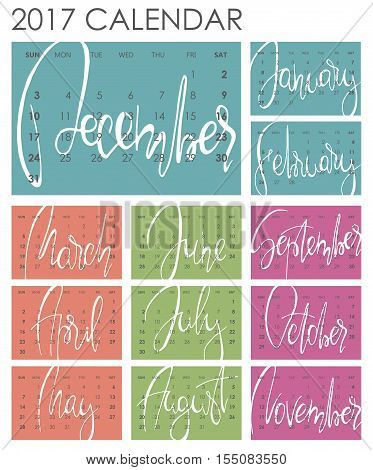 Calendar 2017 - Vector template. Creative artistic monthly calendar with hand lettering. Colorful bright trendy colors. For planners and organizers - 4 x 6 inches month background. Weeks starts sunday