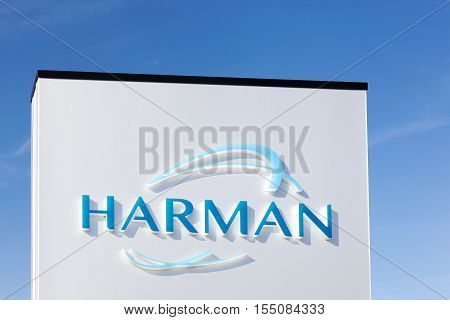 Skejby, Denmark - September 25, 2016: Harman logo on a panel. Harman is an American company that designs and engineers connected products for automakers, consumers and enterprises worldwide