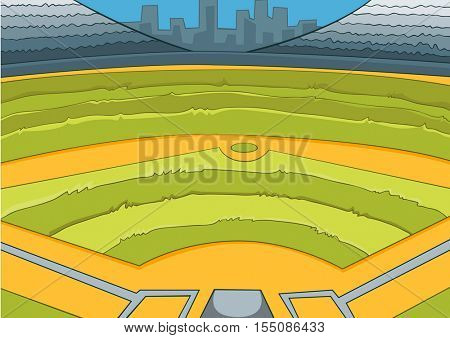 Hand drawn cartoon of sport stadium. Colourful cartoon of sport stadium background. Cartoon background of empty baseball stadium. Cartoon of baseball field. Cartoon of professional baseball arena.
