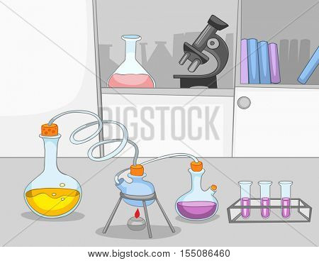 Hand drawn cartoon of chemical laboratory interior. Colourful cartoon of chemical laboratory workplace with test tubes and flasks. Background of working place of scientist in research laboratory.