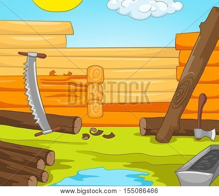 Hand drawn cartoon of construction site in countryside. Colourful cartoon of rural house construction. Cartoon of construction of new residential house from logs. Background of unfinished wooden house