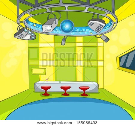 Hand drawn cartoon of television studio interior. Colourful cartoon of modern tv news studio with spotlights, table and chairs. Background of empty television studio ready for work.