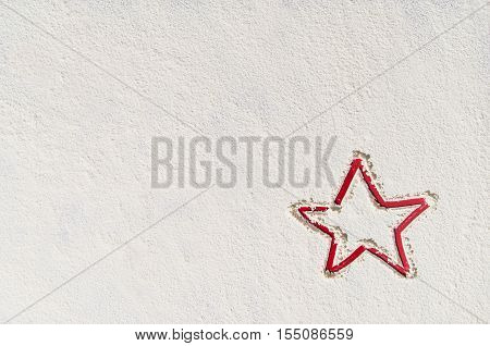 Christmas or winter background with fresh white snow texture. Image taken from above, top view. Studio closeup or macro product shot with ample copy space.