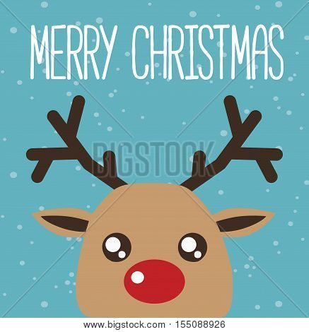 Reindeer Cartoon Kawaii Card - Merry Christmas Reindeer Illustration Vector Flat Stock