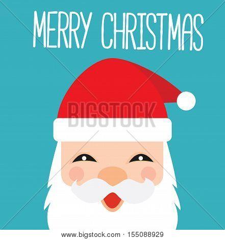 Santa Claus Cartoon Kawaii Card - Merry Christmas Santa Claus Illustration Vector Flat Stock