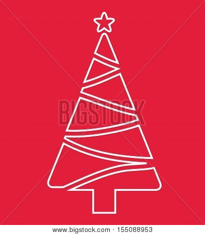 Tree Christmas Card - Tree Christmas White On Red Background Illustration Vector Flat Stock