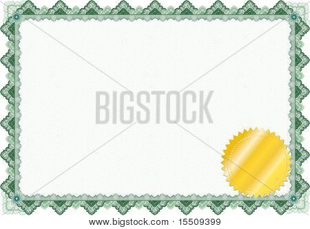Classic Guilloche Border For Diploma Or Certificate / Vector/ With Golden Seal