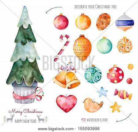 Decorate your christmas tree with 19 decorative balls, candy, golden bells.
