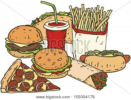 Fast Food Composition with Drink, Burger, Pizza, Taco, Burrito, Hot Dog and Fries Isolated on a White
