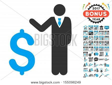 Banker icon with bonus 2017 new year icon set. Vector illustration style is flat iconic symbols, modern colors.