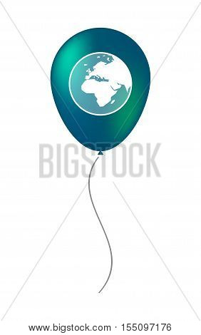 Isolated Air Balloon With   An Asia, Africa And Europe Regions World Globe