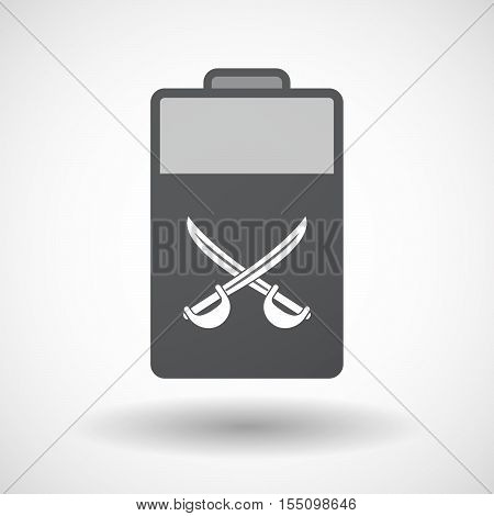 Isolated Battery Icon With  Two Swords Crossed