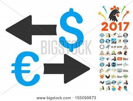 Euro Dollar Transactions pictograph with bonus 2017 new year design elements. Vector illustration style is flat iconic symbols, modern colors.
