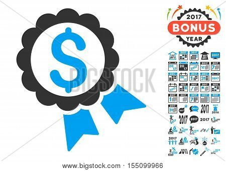 Featured Price Label pictograph with bonus 2017 new year images. Vector illustration style is flat iconic symbols, modern colors.
