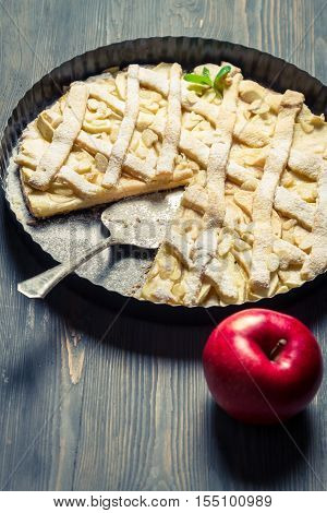 Baked Apple Pie On A Baking Tray