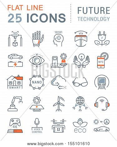 Set vector line icons in flat design future technology eco energy smart tech and electric transportation with elements for mobile concepts and web. Collection modern infographic logo and pictogram.