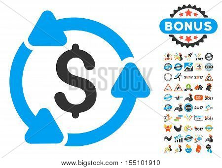 Money Circulation pictograph with bonus 2017 new year design elements. Vector illustration style is flat iconic symbols, modern colors.