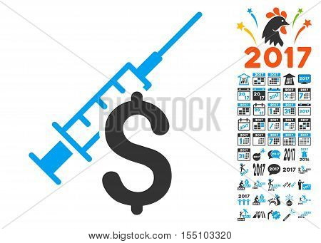 Narcotic Business icon with bonus 2017 new year pictograph collection. Vector illustration style is flat iconic symbols, modern colors.