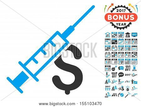 Narcotic Business pictograph with bonus 2017 new year graphic icons. Vector illustration style is flat iconic symbols, modern colors.