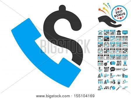 Payphone pictograph with bonus 2017 new year icon set. Vector illustration style is flat iconic symbols, modern colors.