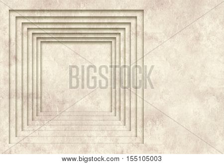 Grunge background with texture of the old, soiled paper and geometric square frame
