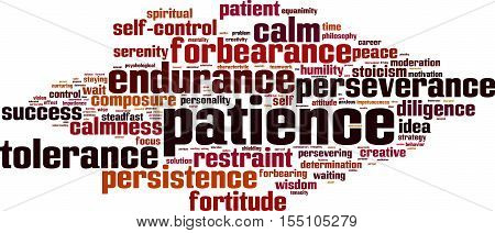 Patience word cloud concept. Vector illustration on white