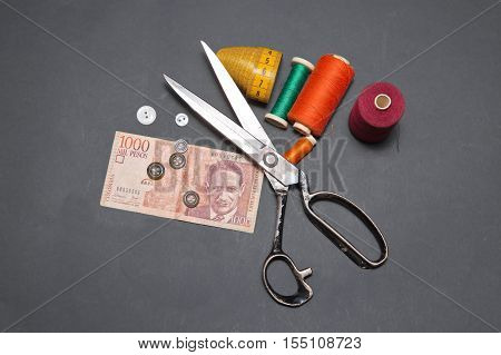 Can you make money sewing. Colombian pesos and  accessories for cutting and sewing