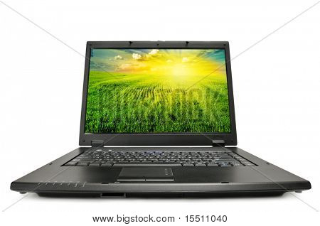 laptop isolated on a white. I am the author photos shown on the screen of a laptop.