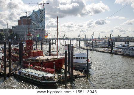 Hamburg City Germany Boats Harbor lying in front of elb Philharmony