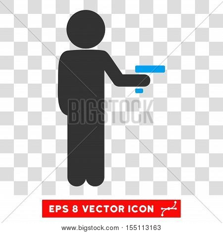 Child Robber EPS vector pictograph. Illustration style is flat iconic bicolor blue and gray symbol.
