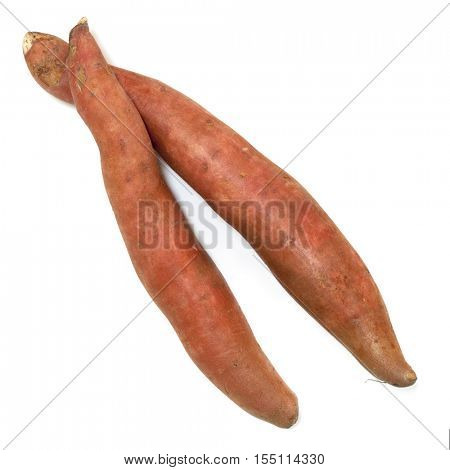 Sweet potatoes isolated on white.  Raw, top view.