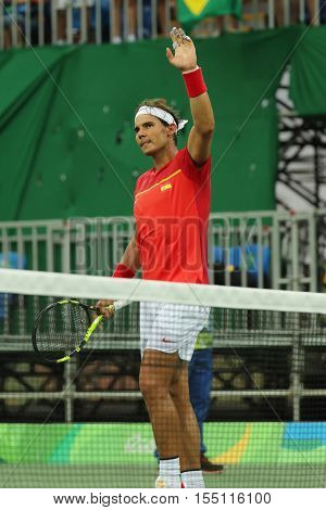 Olympic champion Rafael Nadal of Spain celebrates victory after men's singles first round match of the Rio 2016 Olympic Games