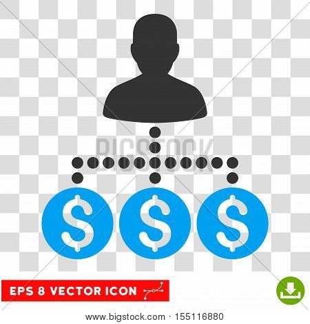 Money Collector EPS vector pictograph. Illustration style is flat iconic bicolor blue and gray symbol.