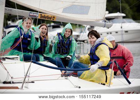 Kyiv; Ukraine - August 12; 2016:Sailing school in Kiyv; Ukraine - August 2016 - Young people learning to sail in the harbor at Dniper river Ukraine before International Regatta Hetman Cup (ISAF Grade 2) run in Ukraine