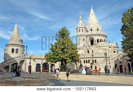 BUDAPEST HUNGARY - SEPTEMBER 29 2016: Towers of Fishermen's Bastion in the Buda castle