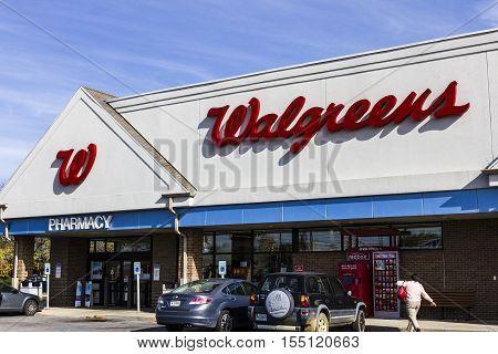 Indianapolis - Circa November 2016: Walgreens Retail Location. Walgreens is an American Pharmaceutical Company VIII