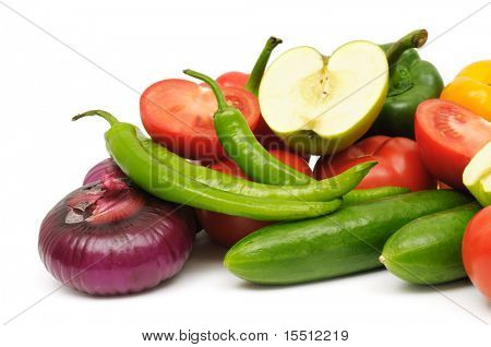 fruits and vegetable isolated on a white