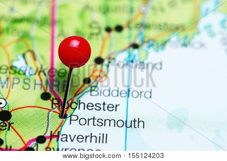 Portsmouth pinned on a map of New Hampshire, USA