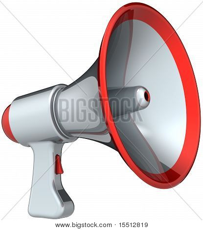 Silver megaphone with red parts