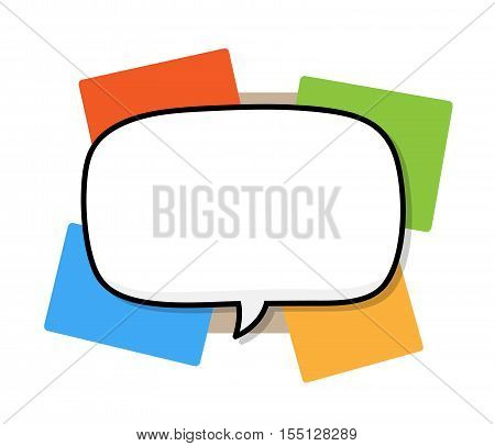 Narration Speech Bubble on A Colorful Background. A hand drawn vector illustration of a blank speech bubble on a colorful background.