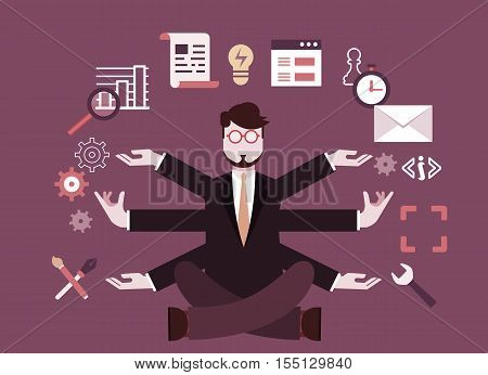 Human resources and self-development. Modern business -  illustration